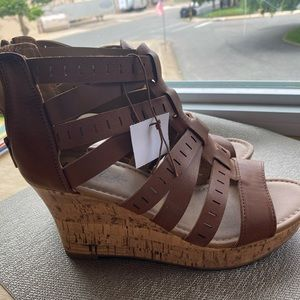 New Brown wedge sandals.